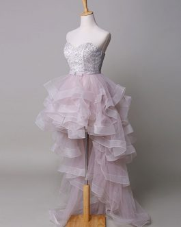 Strapless Beading Sweetheart Tulle Court Train Evening Dress