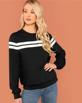 Striped Colorblock Tunic Pullover Women Autumn Highstreet Minimalist Sweatshirt