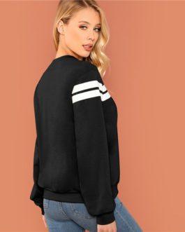 Striped Colorblock Tunic Pullover Women Autumn Highstreet Minimalist Sweatshirt