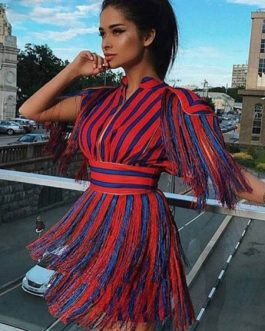 Striped Party Dress Half Sleeve Cut Out Fringe Mini Dress
