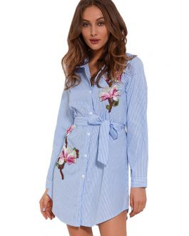 Striped Shirt Long Sleeve Blue Casual Dress