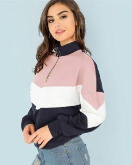 Sweatshirt Athleisure Stand Collar Raglan Sleeve Sweatshirt Women Autumn Pullovers