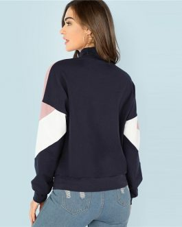 Sweatshirt Athleisure Stand Collar Raglan Sleeve Sweatshirt Women Autumn Pullovers