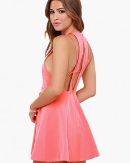 Sweet Crewneck Sleeveless Sexy Party Dress