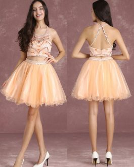 Two Pieces Short Prom Dresses Nude Beading Graduation Dresses
