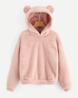 Teddy Hoodie Pullovers Sweatshirt Autumn Women Campus Casual Sweatshirts