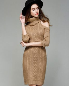 Turtleneck Sweater Dress Cold Shoulder Women Light Tan Long Sleeve Slim Fit Jumper Dress