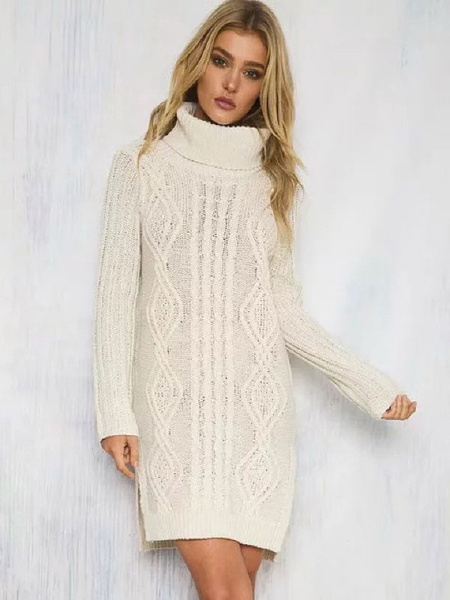 Turtleneck Sweater Dress White Chunky Cable Knit Long