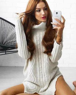 Turtleneck Sweater Dress White Chunky Cable Knit Long Sleeve Split Midi Dress