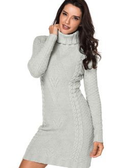 Turtleneck Sweater Dress Women Cable Knit Grey Long Sleeve Knitted Dress