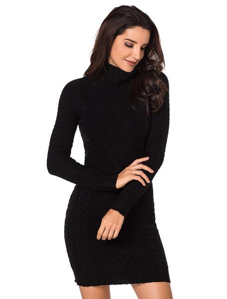 c2da1e9a4f87 Turtleneck Sweater Dress Women Cable Knit Grey Long Sleeve Knitted ...