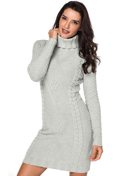 32f9dea21e7 Turtleneck Sweater Dress Women Cable Knit Grey Long Sleeve Knitted Dress
