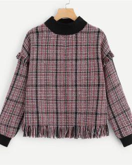 Tweed Pullover Sweatshirt Autumn Preppy Campus Women Sweatshirts
