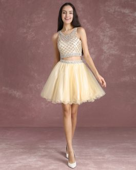 Two Pieces Homecoming Dresses Vanilla Cream Beaded Short Graduation Dress