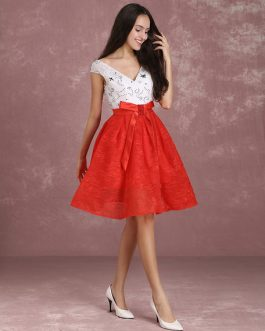 Two Tone Beading V Neck Bow Sash A Line Knee Length Graduation Dress