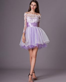 Two-Tone Tiered Short Homecoming Dress with Lace Applique