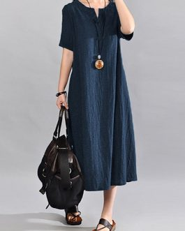 O-Neck Short Sleeve Cotton Linen Maxi Dress
