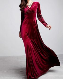 Velvet Long Sleeve V-neck Maxi Prom Dresses