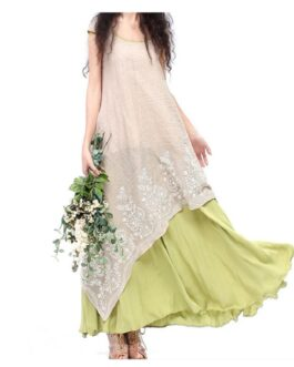 Vintage Dress Floral Embroidery Maxi Dress