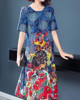 Vintage Printing Color Block Short Sleeve Dress