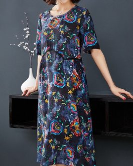 Vintage Printing Floral Long Dress