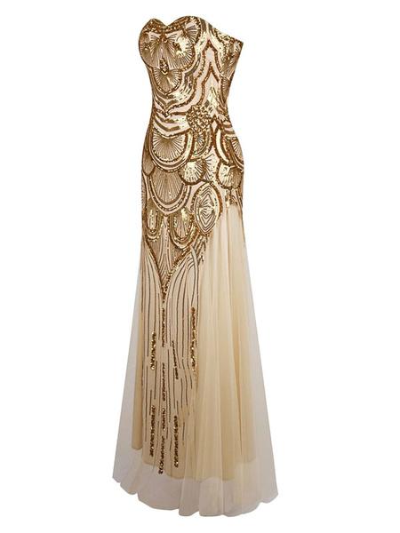 Vintage Prom Dresses Gold Sequin Strapless