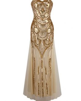 Vintage Prom Dresses Gold Sequin Strapless 1920s Flapper Dress Maxi Evening Dress
