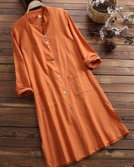Vintage Women Cotton Long Sleeve Button Dress