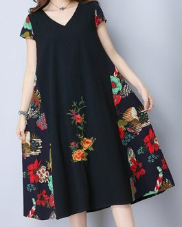Vintage Women Embroidered Patchwork Dresses
