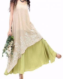 Vintage Women Embroidery Layered Dress