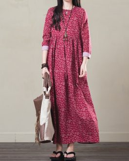 Vintage Women Floral Printed Maxi Dress
