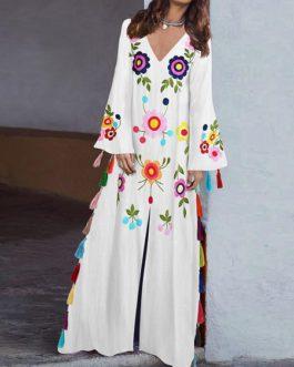 Vintage Women Folk Style Print V-Neck Split Hem Maxi Dress with Tassel