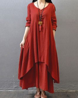 Vintage Women Irregular Maxi Dresses