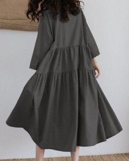 Vintage Women Loose Long Sleeve Flip Button Collar A Line Fold Dress