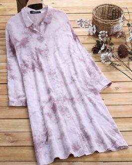 Vintage Women Print Button Half Sleeve Turn Down Collar Shirt Dress