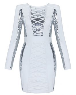 White Bodycon Dress Long Sleeve Party Dress Sequins Two Tone Shaping Mini Dress