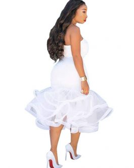 White Bodycon Dress Strapless Ruffles Shaping Sexy Party Dress