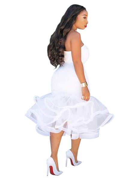 White bodycon dress with ruffles