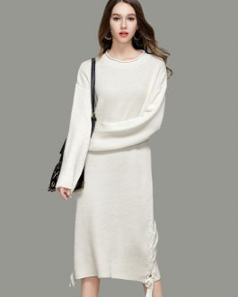 White Knit Dress Women Sweater Dress Round Neck Long Sleeve Lace Up Long Dress