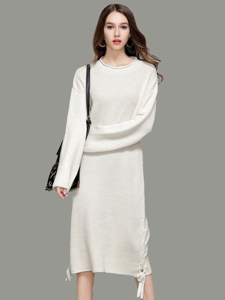 b0a711a32210 White Knit Dress Women Sweater Dress Round Neck Long Sleeve Lace Up Long  Dress