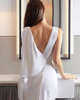 White Party Dress Long Evening Dress V Neck Shoulder Cape Birthday Dress