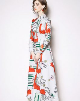 White Shirt Dress Turndown Collar Printed Long Dress