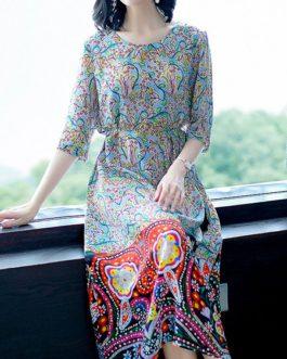 Women Bohemian Floral Printing Calf-Length Dress
