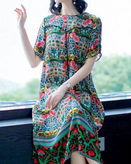 Women Bohemian Floral Silk Vintage Dress