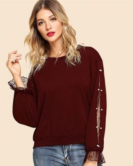 Women Casual Round Neck Long Sleeve Sweatshirt Women Autumn Sweatshirts