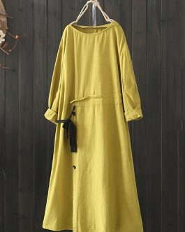 Women Drawstring Waist Vintage Dress