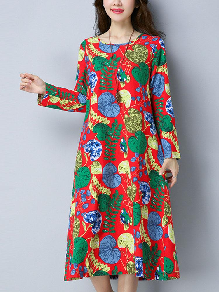Women Ethnic Style Printing Loose Dress 1