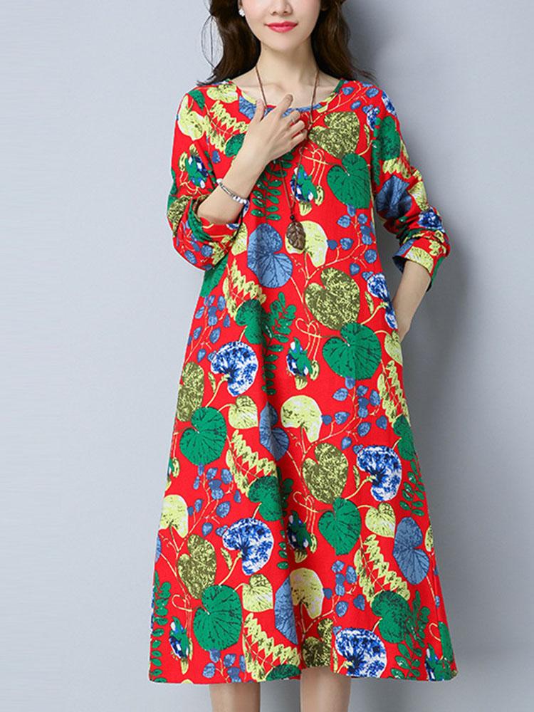 Women Ethnic Style Printing Loose Dress 2