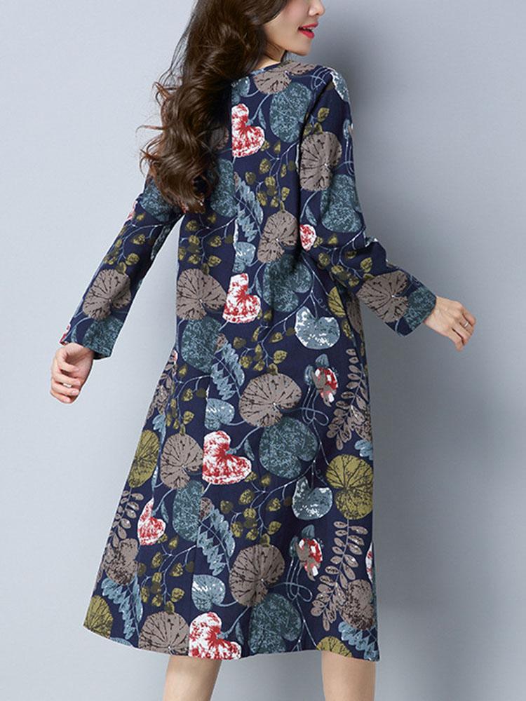 Women Ethnic Style Printing Loose Dress 4