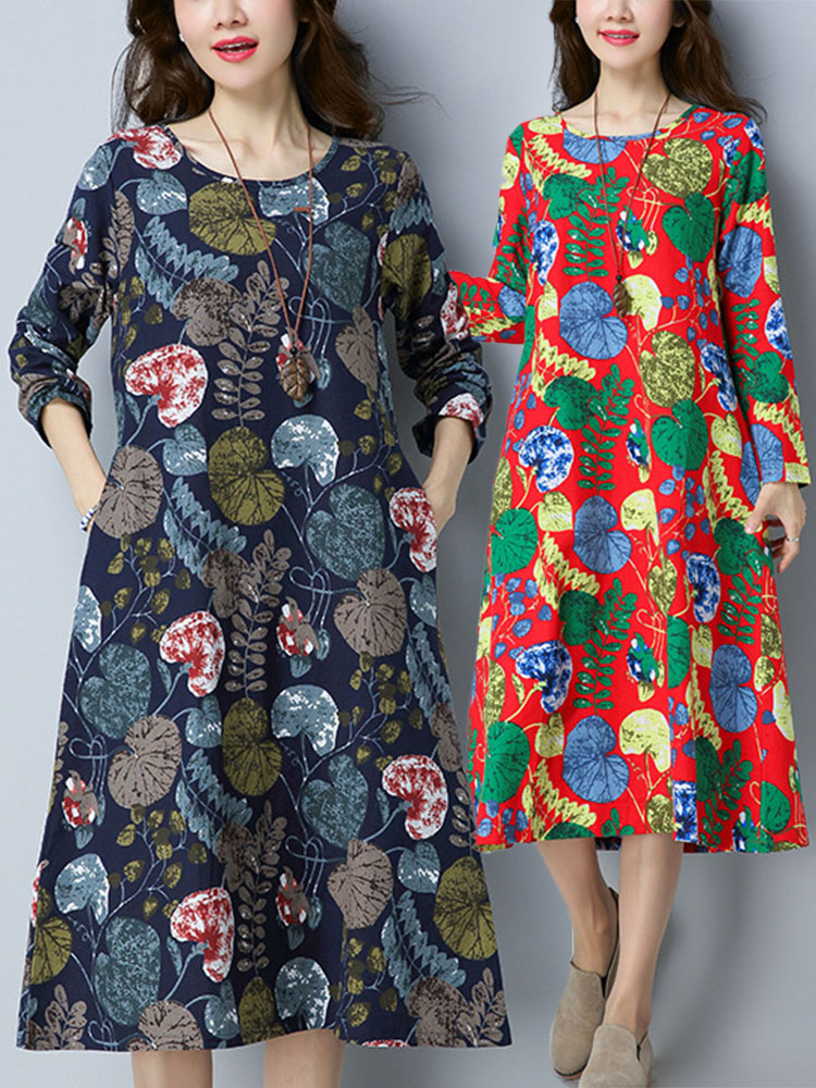Women Ethnic Style Printing Loose Dress 5